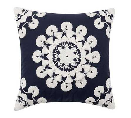 """POM POM MEDALLION EMBROIDERED PILLOW COVER - 20"""" - Navy - Insert Sold Separately - Pottery Barn"""