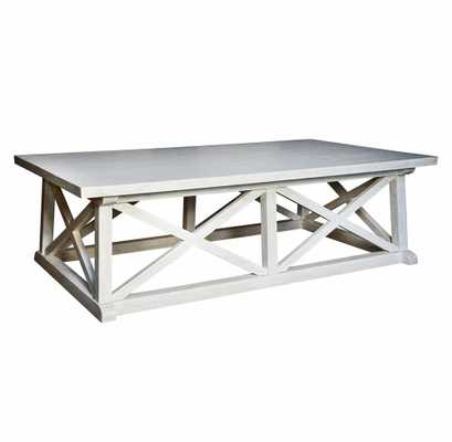Luc Coastal Beach White Wash Coffee Table - Kathy Kuo Home