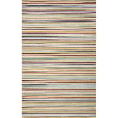 Flat Weave Stripe Pattern Wool Area Rug - Overstock