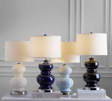 Alexis Ceramic Bedside Lamp Base - Navy - Pottery Barn
