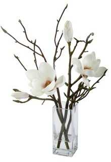 "18"" Magnolias in Glass Vase, Faux - One Kings Lane"