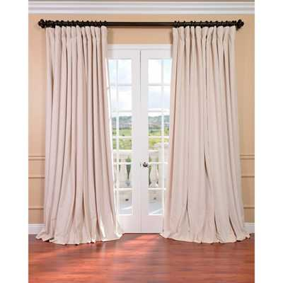 EFF Ivory Velvet Blackout Extra Wide Curtain Panel-96'' - Overstock