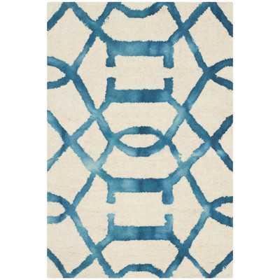 Dip Dye Ivory/Turquoise Area Rug - 6' x 9' - Wayfair
