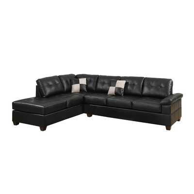 Bobkona Randel Leather Reversible Sectional - Wayfair