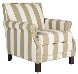 Juniper Club Chair, Taupe/White - One Kings Lane