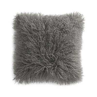 "Pelliccia Silver Grey 16"" Mongolian Lamb Fur Pillow - Crate and Barrel"