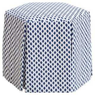 Nora Skirted Ottoman, Navy Dots - One Kings Lane