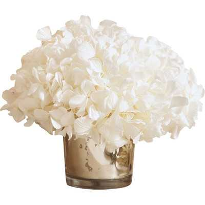 Preserved White Hydrangea in Mercury Glass Vase - Wayfair