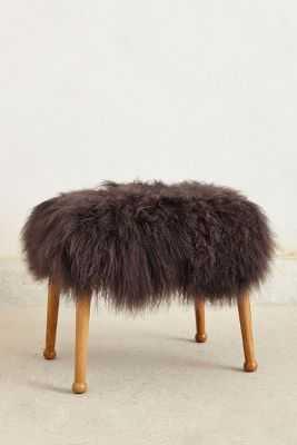 Luxe Fur Stool - Grey - Anthropologie