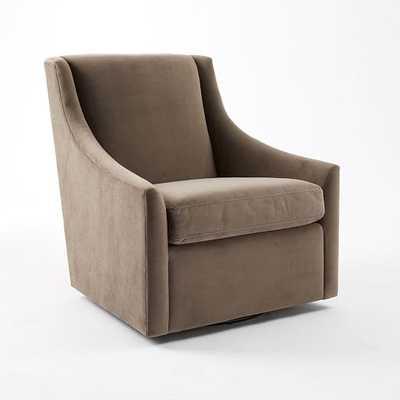 Sweep Arm Swivel Chair, Heathered Crosshatch - West Elm