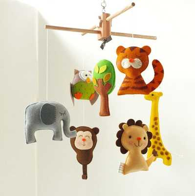 Musical Baby Mobile SAFARI QUEST ADVENTURE, Wool Felt Hanging - Etsy