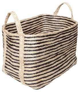 Large Jute Floor Basket, Charcoal Stripe - One Kings Lane