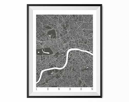 "LONDON Map - Wall Art Decor, 16"" x 20"" - Framed - Etsy"