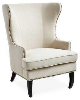 Addison Wingback Chair, Oatmeal Linen - One Kings Lane
