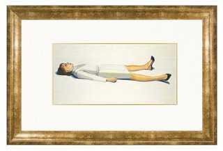 "Wayne Thiebaud, Supine Woman, 1963-16"" x 20"" x 1""-Gold Frame - One Kings Lane"