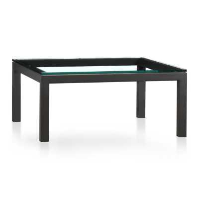 Parsons Square Coffee Table with Clear Glass Top - Crate and Barrel