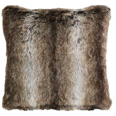 Saguaro Desert Chinchilla Fur Throw Pillow, Brown and cream - 18sq. - Polyester Insert - Wayfair