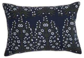 Bloom 14x20 Linen Pillow, Navy - One Kings Lane