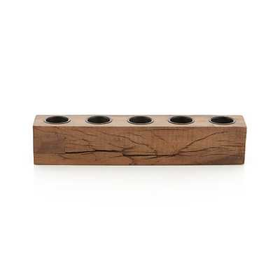 Woodsy Wood Tea Light Centerpiece Candle Holder - Crate and Barrel