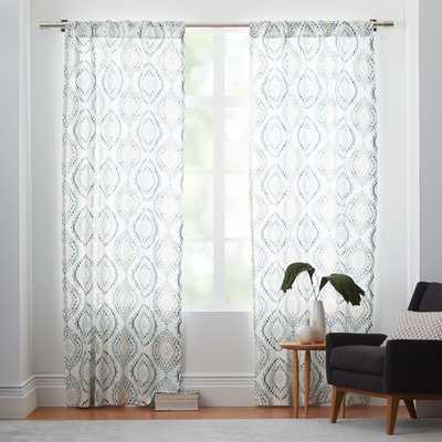 "Cotton Canvas Mosaic Medallion Curtain - Blue Lagoon- 108""l x 48""w - West Elm"