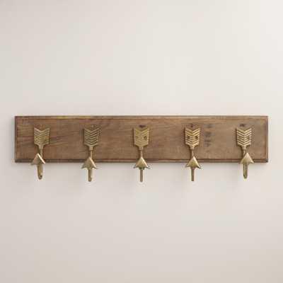 Brass Metal Arrow 5 Hook Wall Storage - World Market/Cost Plus