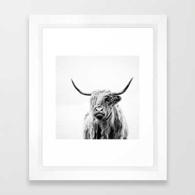 "Portrait of a highland cow - 10"" x 12"" - Framed - Society6"