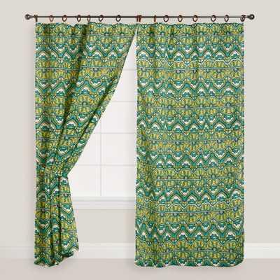 "Green Bohemian Jute Wood Ring Curtains - Set of 2 - 96""L - World Market/Cost Plus"