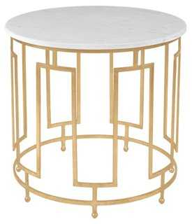 Bowman Round Marble Side Table, Gold - One Kings Lane