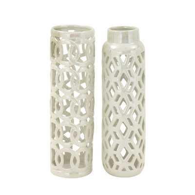 2 Piece Ceramic Vase Set - Wayfair