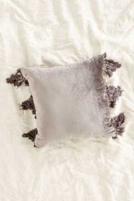 "Magical Thinking Velvet Fringe Pillow- 18"" sq- Grey- Insert Sold Separately - Urban Outfitters"