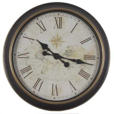 """Oversized 24"""" Antique Map Wall Clock - Wayfair"""