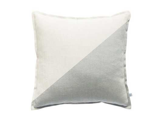 Decorative pillow Color block linen throw pillowcover Off white Dove grey cushion - Etsy