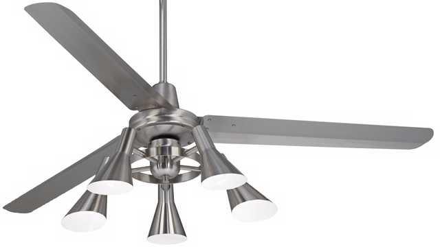 """60"""" Casa Turbinaâ""""¢ Brushed Steel 5-Light Ceiling Fan - Lamps Plus"""