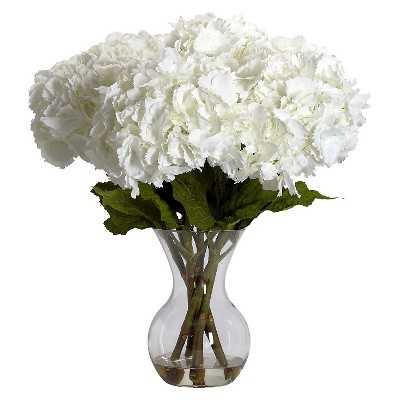 Nearly Natural Large Hydrangea w/Vase Silk Flower Arrangement - Target