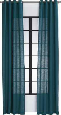 "Burlap blue-green curtain panel 48""x120"" - CB2"