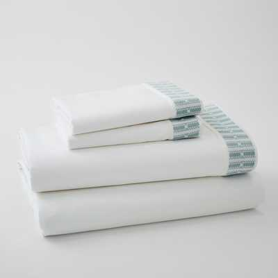 Coyuchi Organic Dobby Cuff Sheet Set, King, Pale Dusty Aqua - West Elm