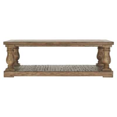 INSPIRE Q Edmaire Rustic Baluster Weathered Pine 55-inch Coffee Table - Overstock