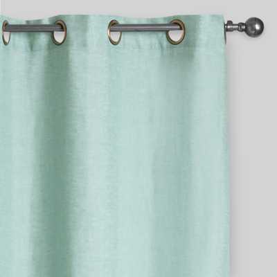 "Dusty Aqua Linen Grommet Top Curtains Set of 2- 84"" - World Market/Cost Plus"