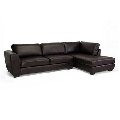 Baxton Studio Orland Brown Bonded Leather Modern Sectional Sofa Set with Right Facing Chaise - Overstock