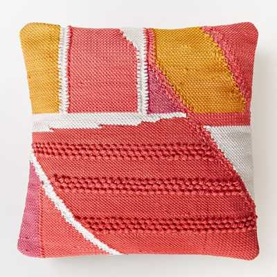 """Chindi Colorblock Shag Pillow Cover - Poppy - 20""""sq. - Insert sold separately - West Elm"""