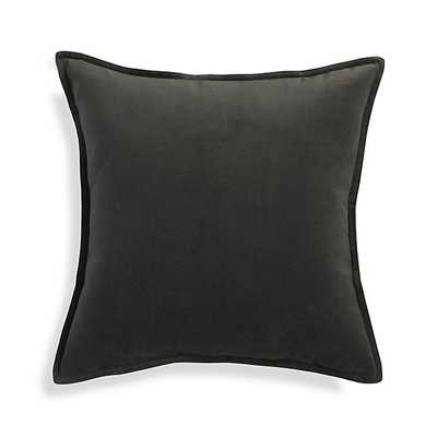 Brenner Velvet Pillow - Grey, 20x20, Feather Insert - Crate and Barrel