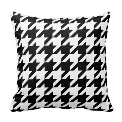 """Black and White Houndstooth Pillow 16"""" x 16"""" with insert - zazzle.com"""