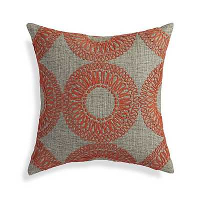 "Gracie Orange 18"" Pillow with Feather-Down Insert - Crate and Barrel"