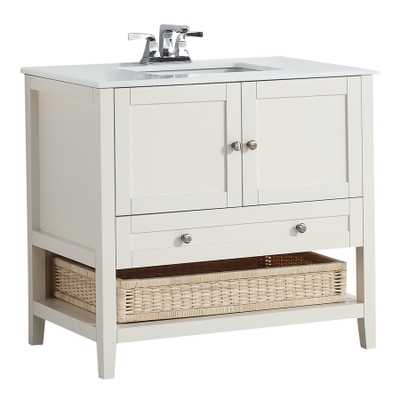 Simpli Home Cape Cod Soft White Undermount Single Sink Birch Bathroom Vanity with Engineered Stone T - Lowes