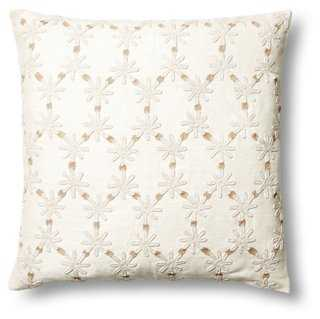 Ditsy Flower 24x24 Linen Pillow, Taupe - One Kings Lane