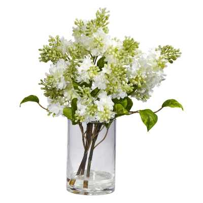 White Lilac Silk Flower Arrangement - Hayneedle