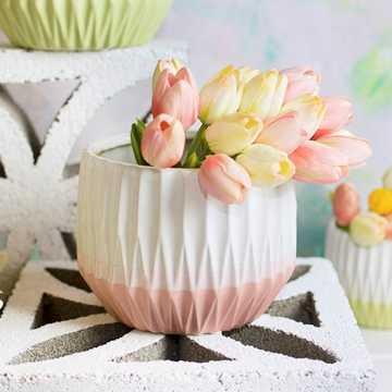 Vase, Ceramic, Ribbed Planter Pot, Geometric, 5.5 inch, White & Coral - lightingcity.com