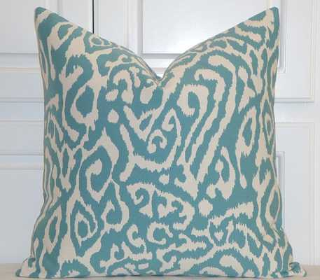 "IKAT Animal Print - Blue Turquoise pillow-20""x 20""- Insert Sold Separately - World Market/Cost Plus"