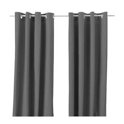 MERETE Curtains, 1 pair, gray - Ikea