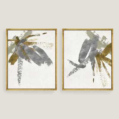 "Silver & Gold Brushstroke Canvas Wall Art Gold Leaf - 17.5""W x 21.5""H - Framed - World Market/Cost Plus"